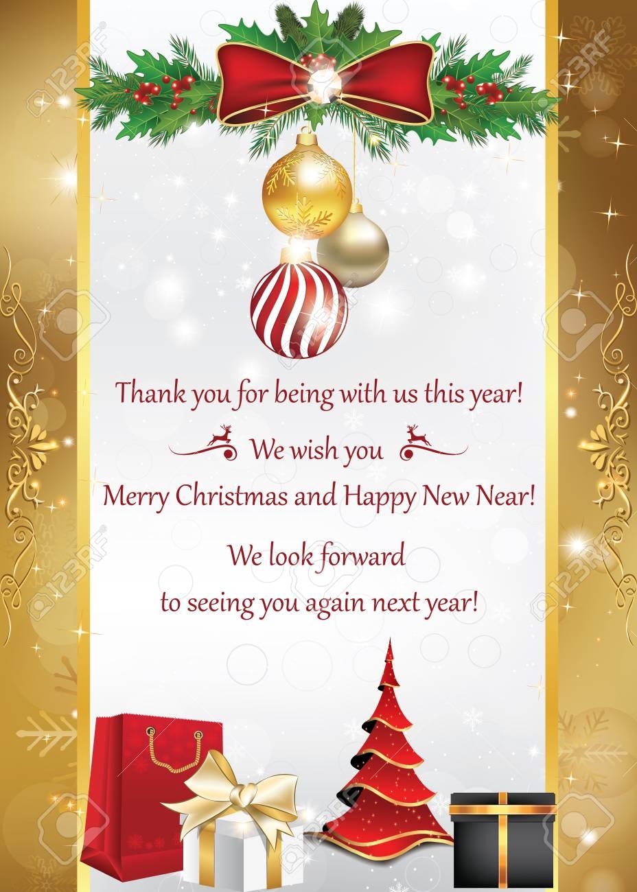 Carte De Visite Pour Les Vacances Dhiver Merci Dtre Avec Nous Cette Anne Joyeux Nol Et Bonne Avons Hte Vous Revoir Lanne Prochaine