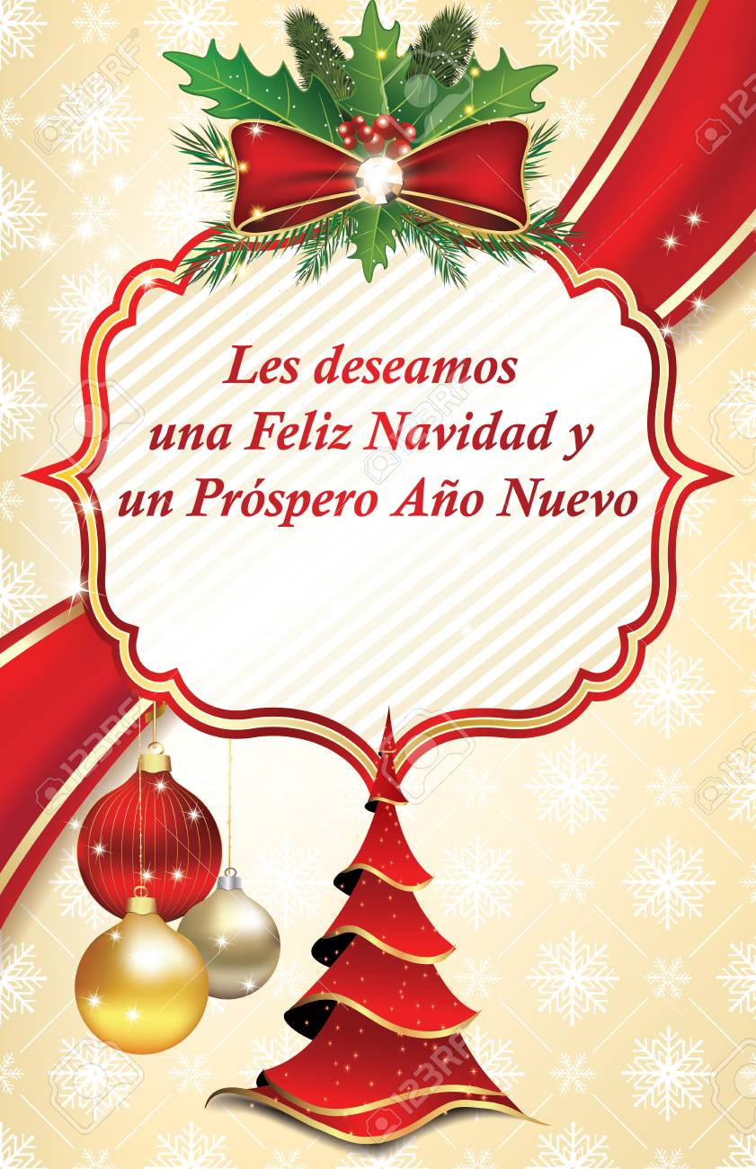 christmas and new year greeting card in spanish language we wish you merry christmas and