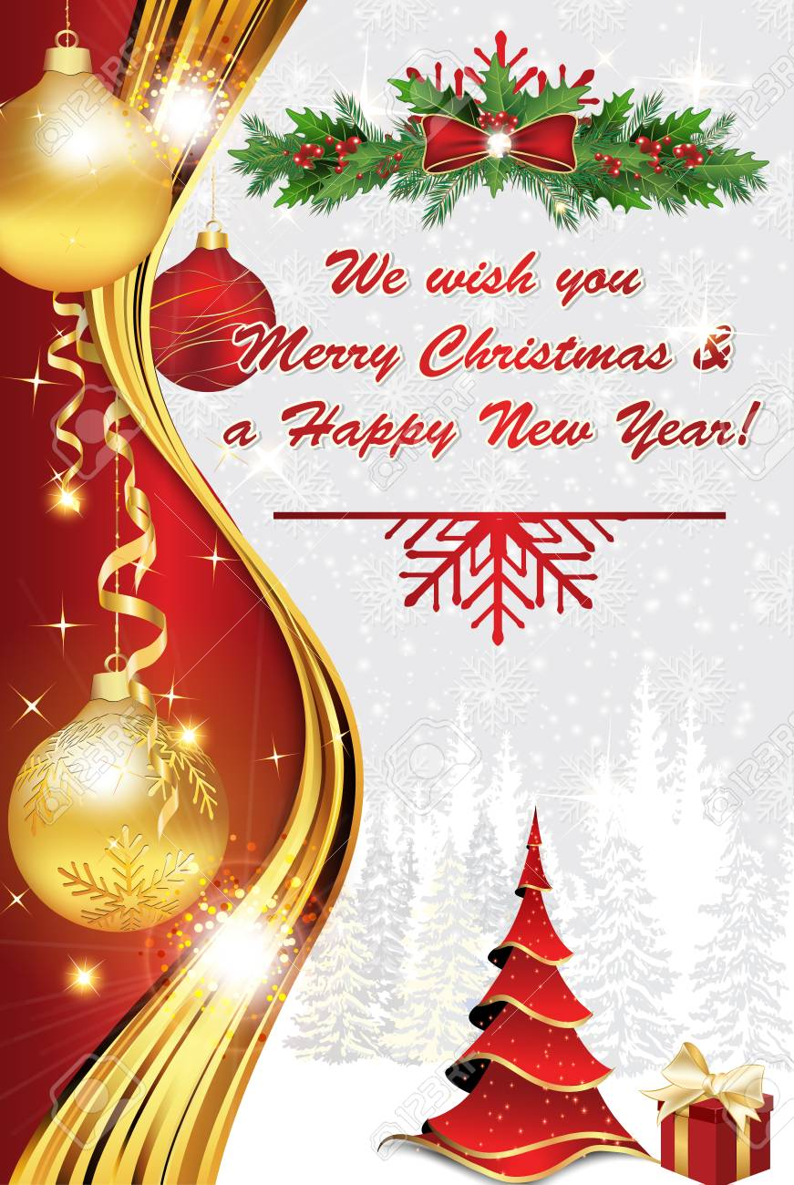 Wir Wünschen Euch Frohe Weihnachten Und Ein Gutes Neues Jahr.Stock Photo