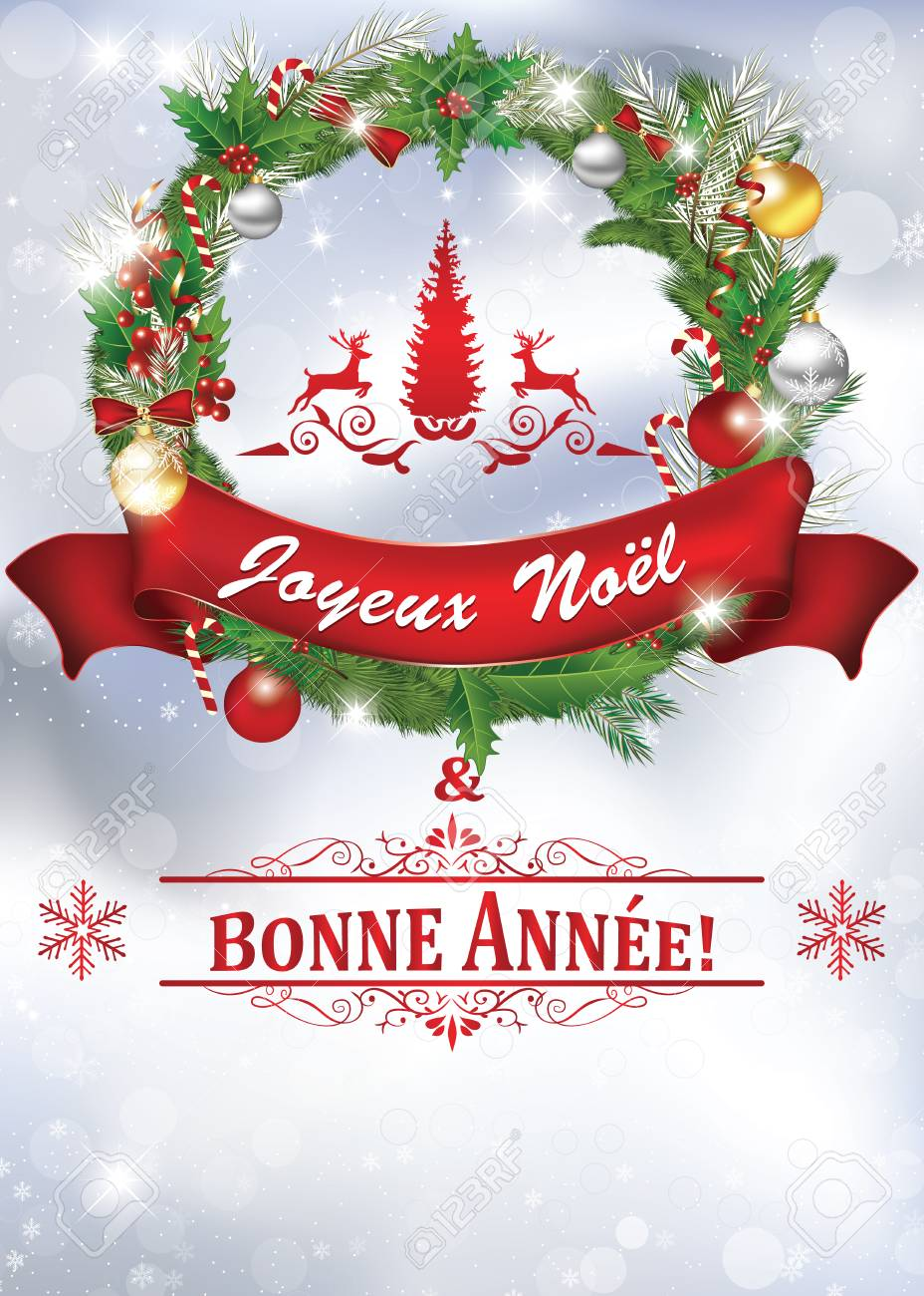 image regarding Merry Christmas in Different Languages Printable known as Printable Clean Calendar year greeting card with concept within French language:..