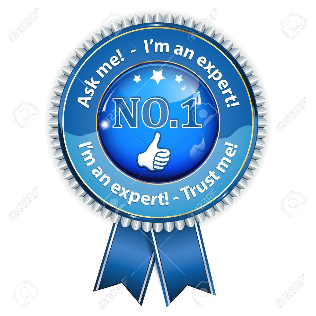 I'm an expert  Trust me, ask me - shiny blue business ribbon