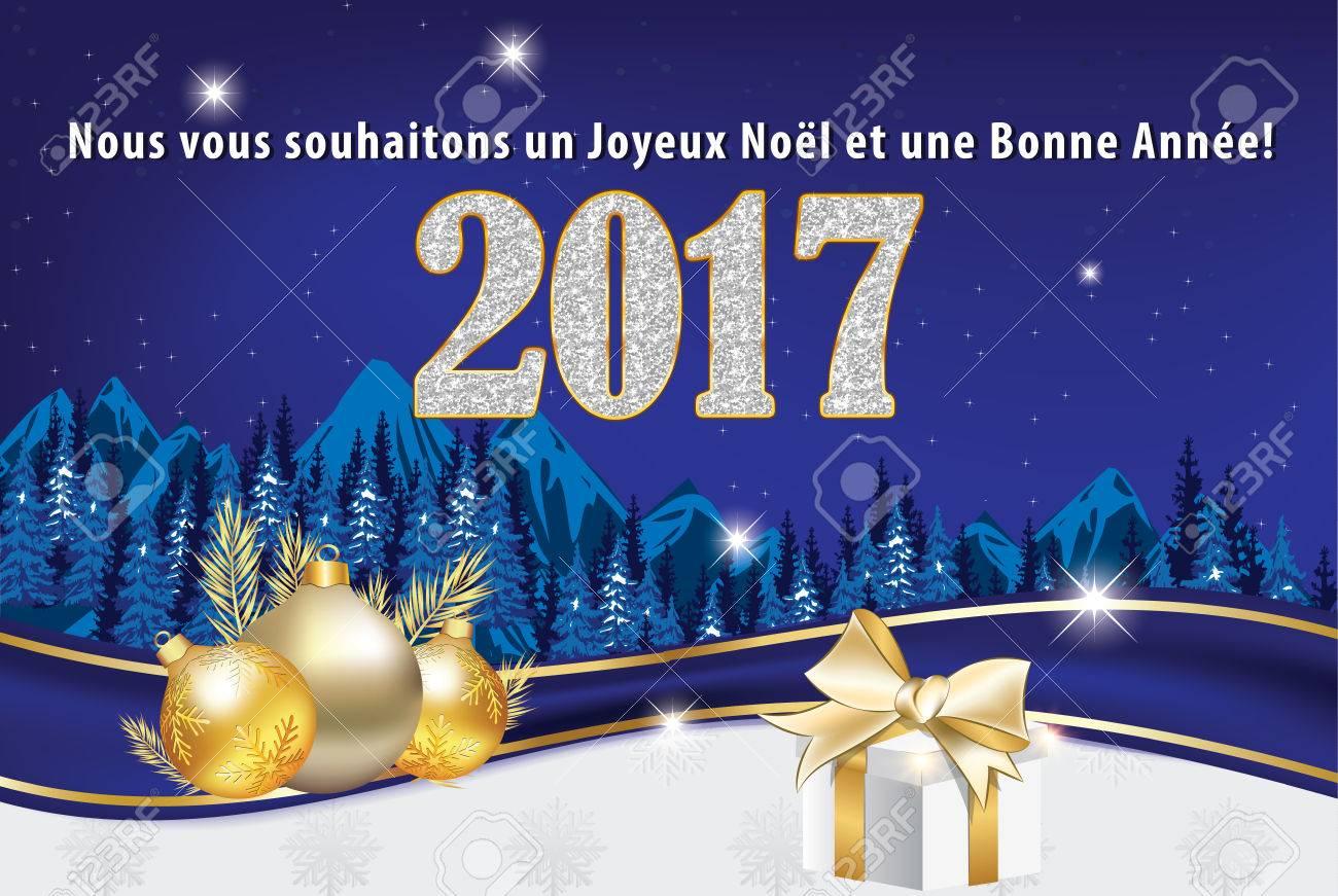 Joyeux Noel Twilight.Greeting Card 2017 For Winter Holiday In French Language We