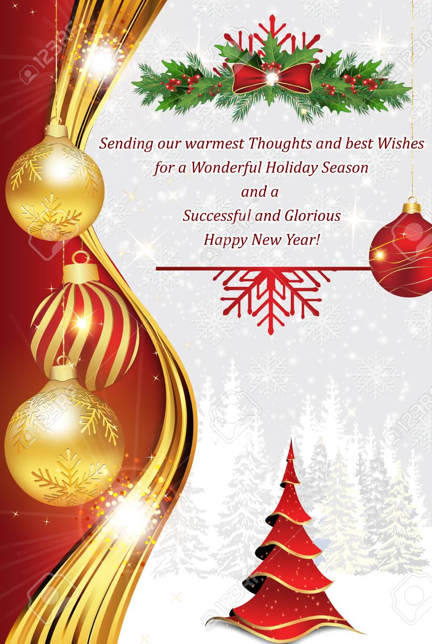 Business Greeting Card For Christmas And New Year Contains A
