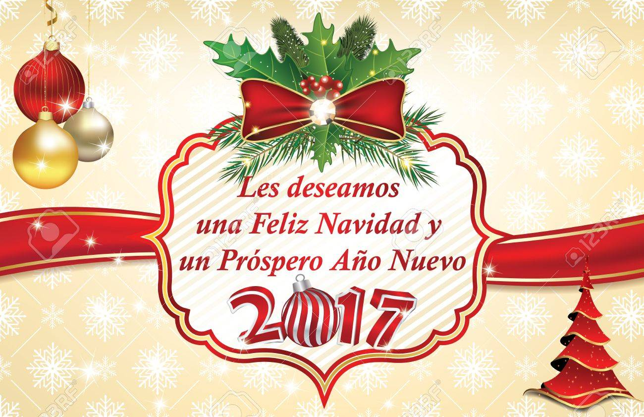 Elegant winter holiday greeting card in spanish language we stock elegant winter holiday greeting card in spanish language we wish you merry christmas and a m4hsunfo