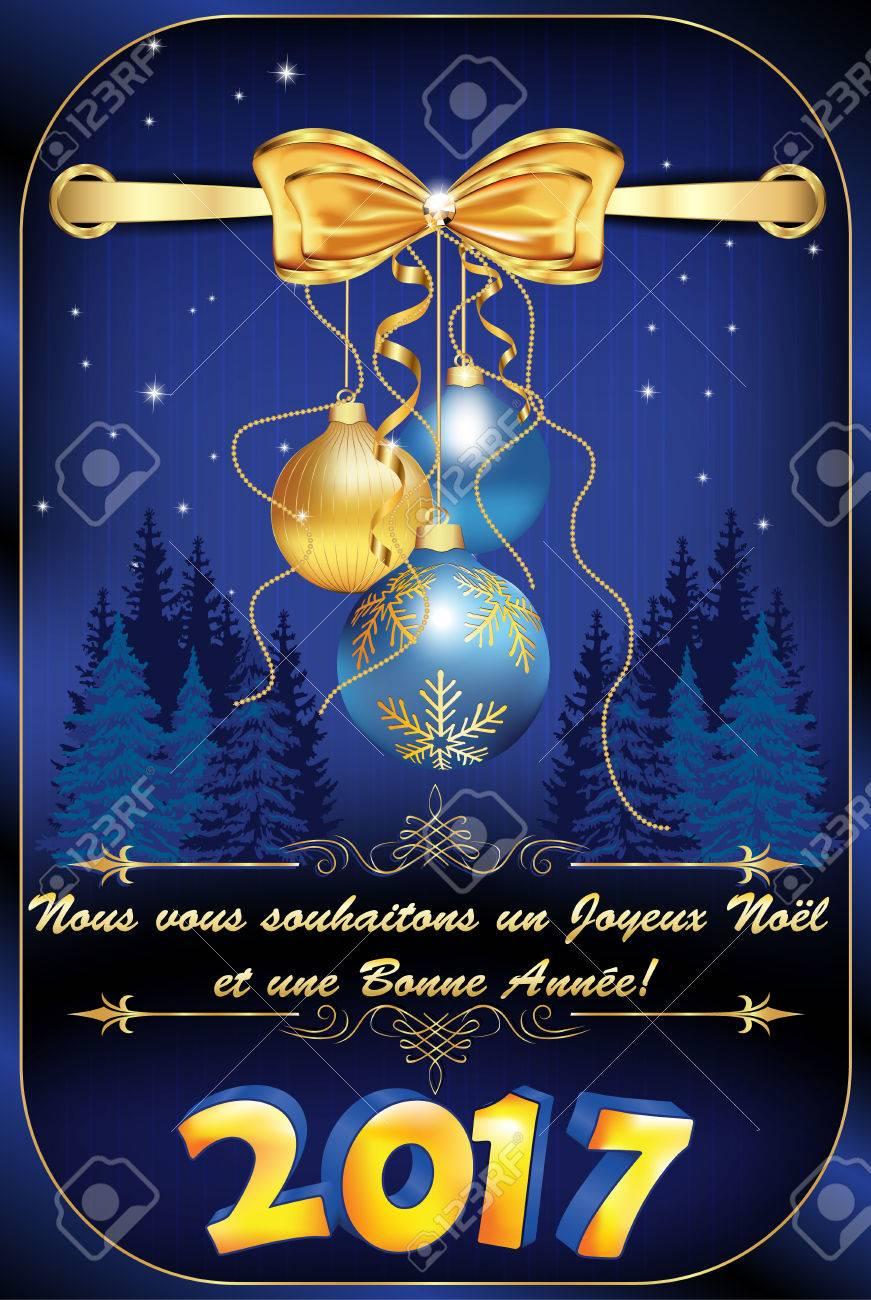 Joyeux Noel Twilight.Greeting Card For Winter Holiday In French Language We Wish