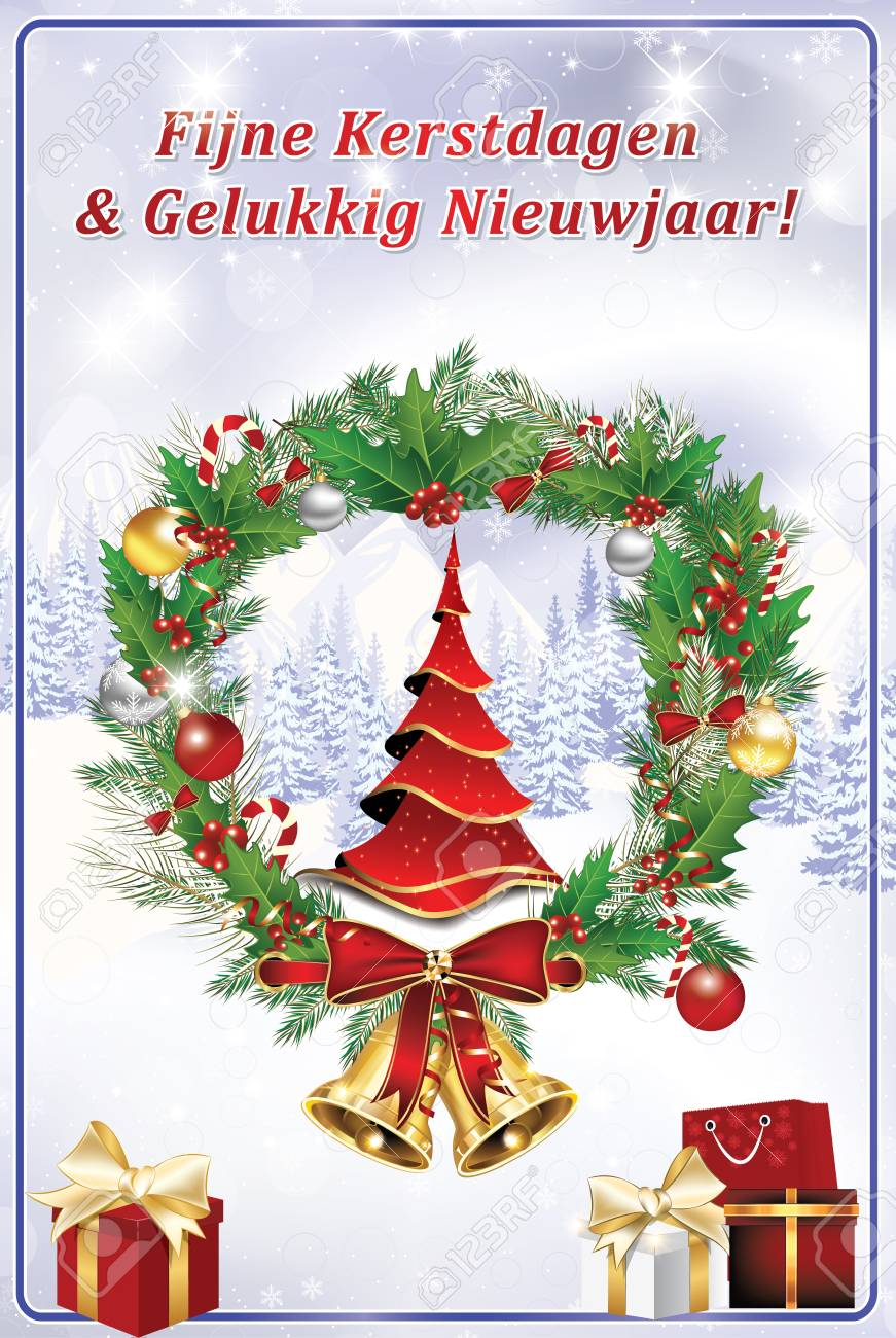 Merry Christmas In Dutch.Dutch Winter Holiday Greeting Card In Dutch Language Also For