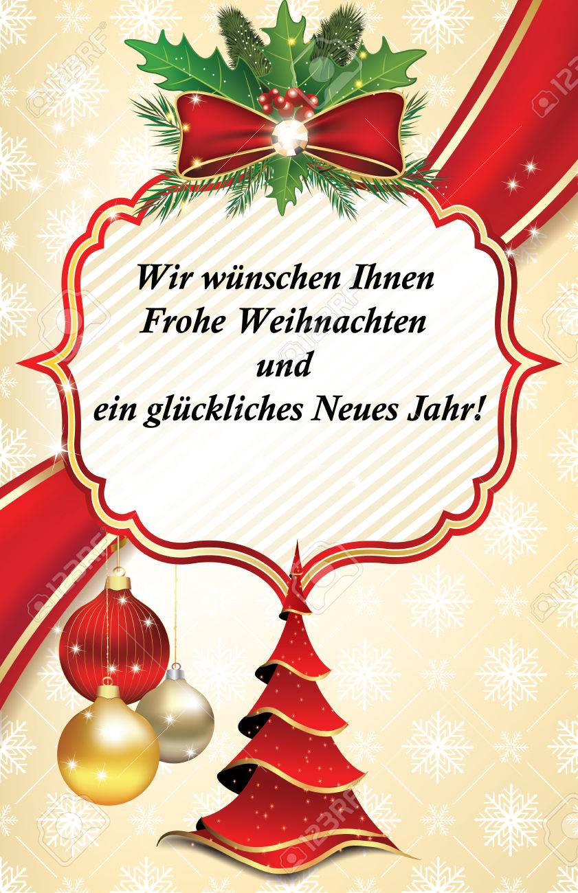 Business Greeting Card For The Year With Text In German Language ...