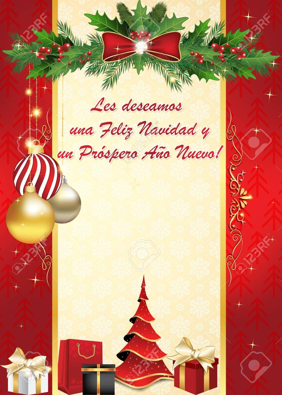 Merry Christmas In Spanish.We Wish You Merry Christmas And Happy New Year Spanish Language