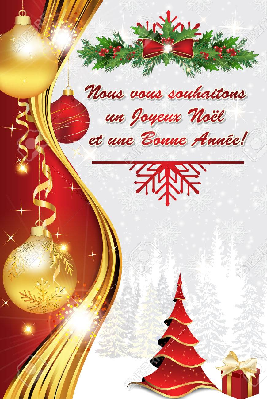 french greeting card 2017 for winter holiday we wish you merry christmas and a happy