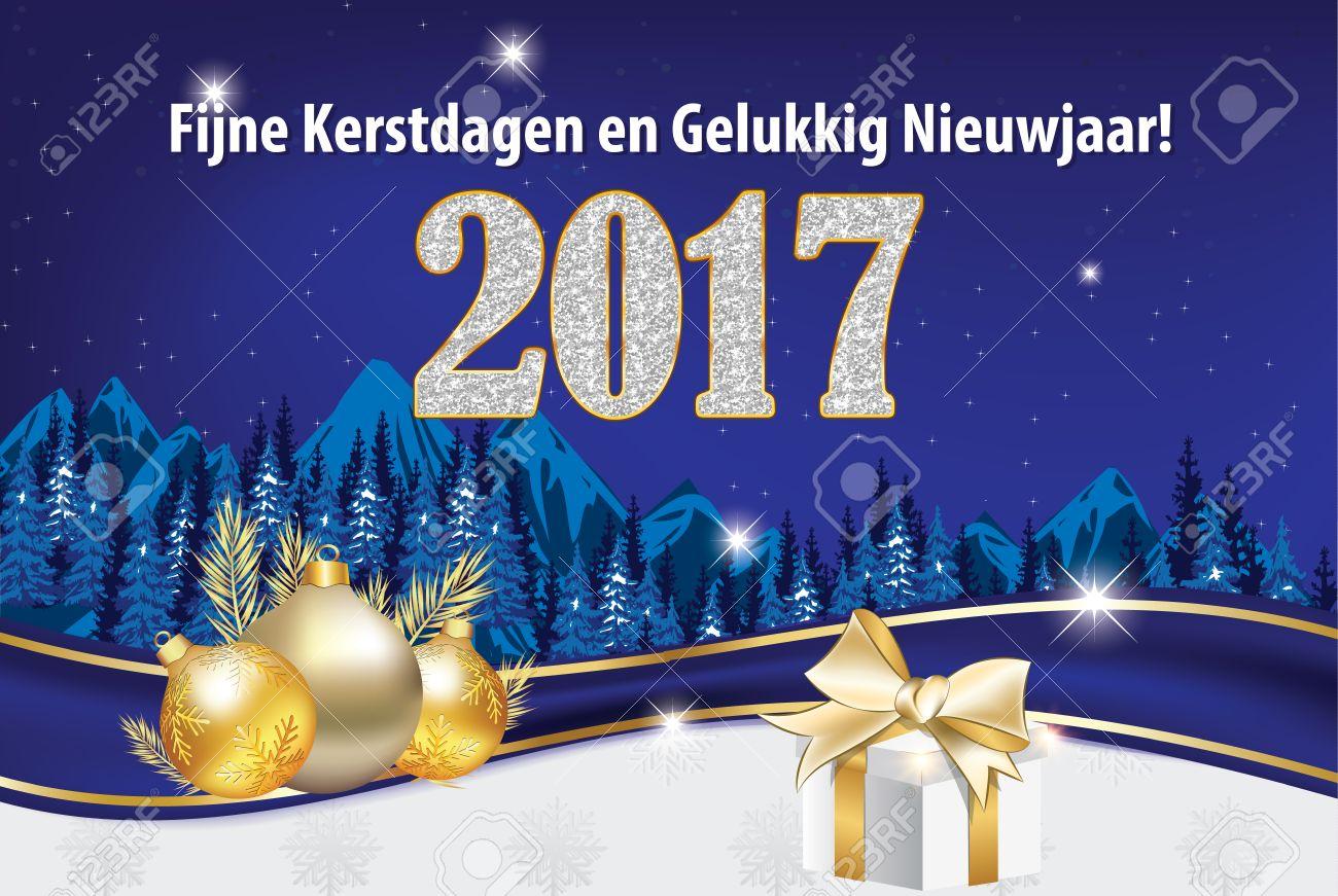 Frohe Weihnachten Und Ein Gutes Neues Jahr Holländisch.Stock Photo