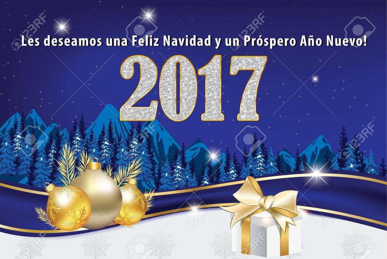 Spanish Greeting Card For New Year (Les Deseamos Feliz Navidad ...