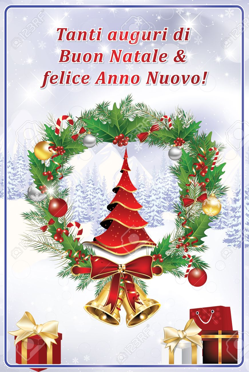 Merry Christmas In Italian.Italian Greeting Card We Wish You Merry Christmas And Happy