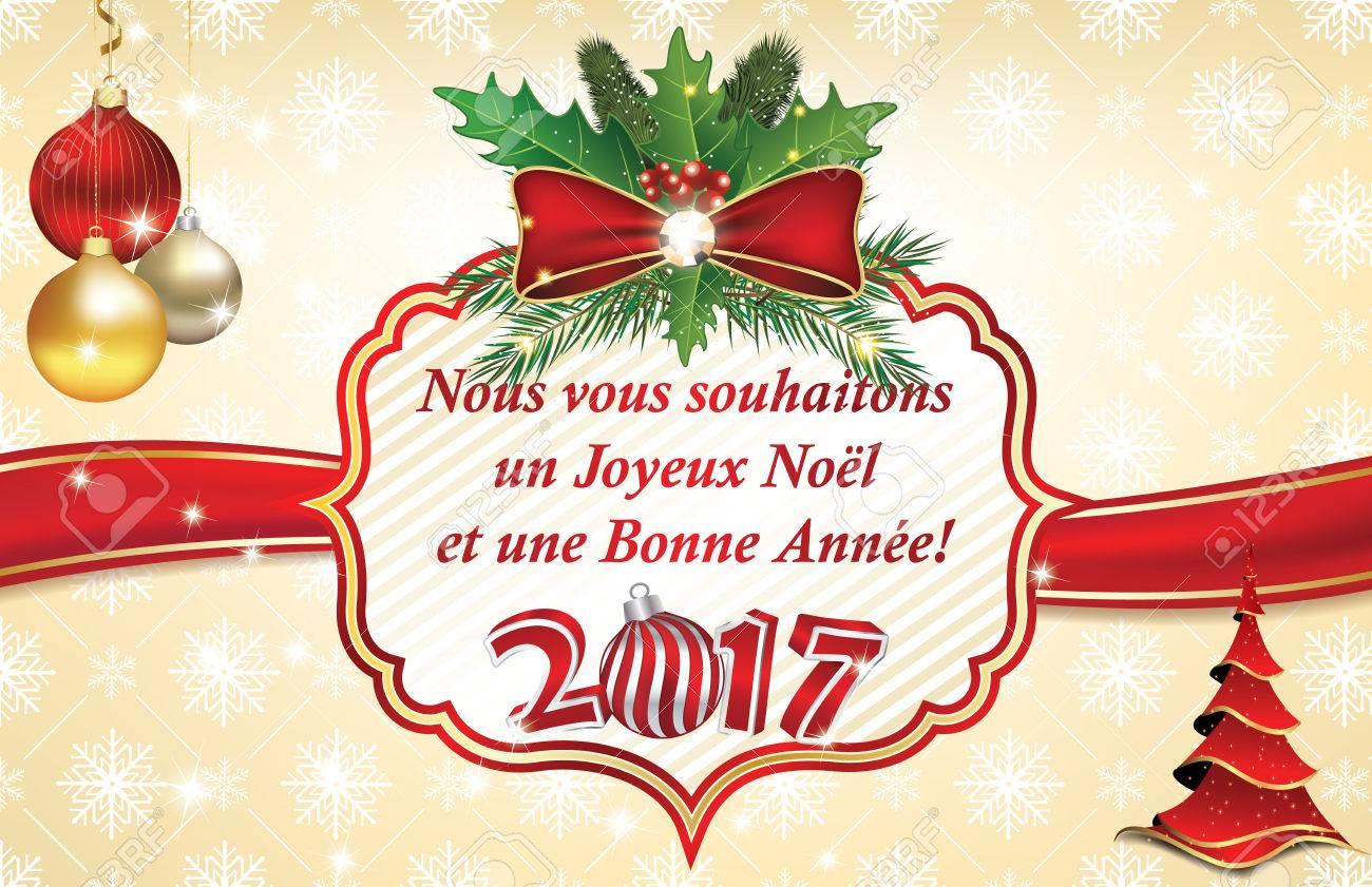 Französische Geschäftsgrußkarte Für Winterurlaub 2017. Wir Wünschen ...