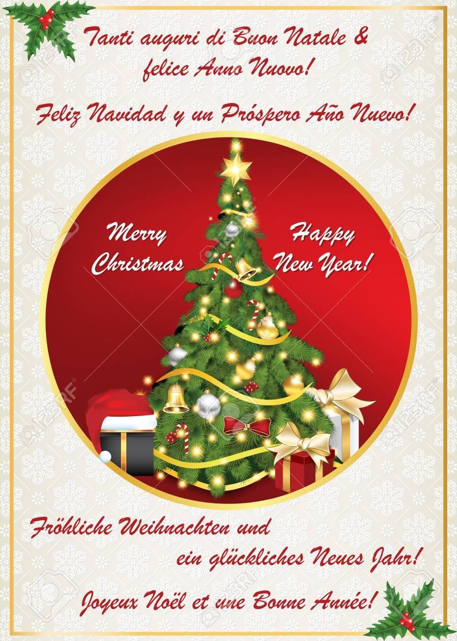 Carte De Voeux De Nouvel An Classique Multilingue. Joyeux Noel Et