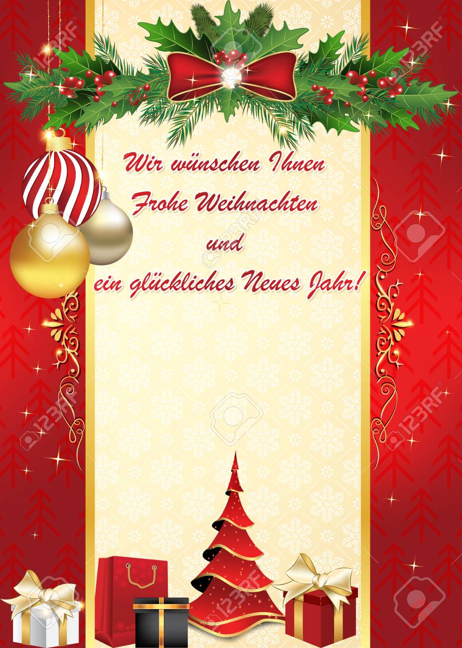 german we wish you merry christmas and happy new year greeting card wir wunschen ihnen