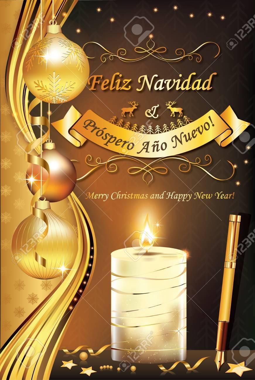 Spanische Grußkarte Für Winterurlaub (Frohe Weihnachten Und Guten ...