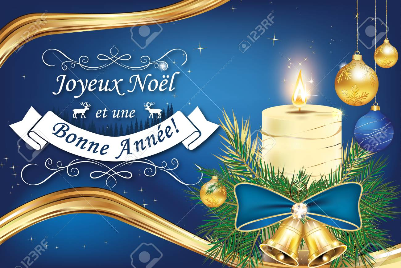 Elegant French Greeting Card For Christmas And New Year. Merry