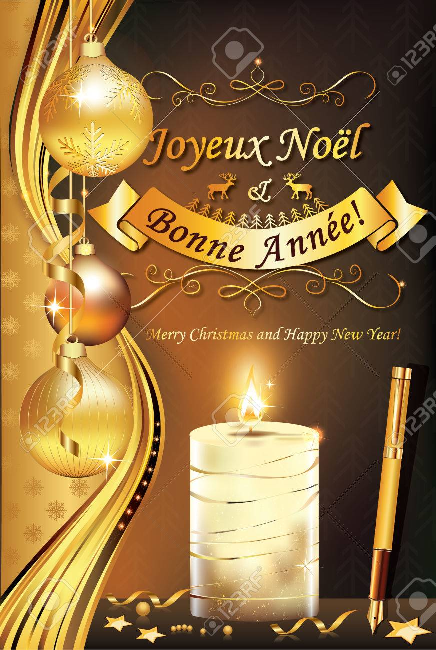 french greeting card for winter holiday merry christmas and happy new year joyeux noel