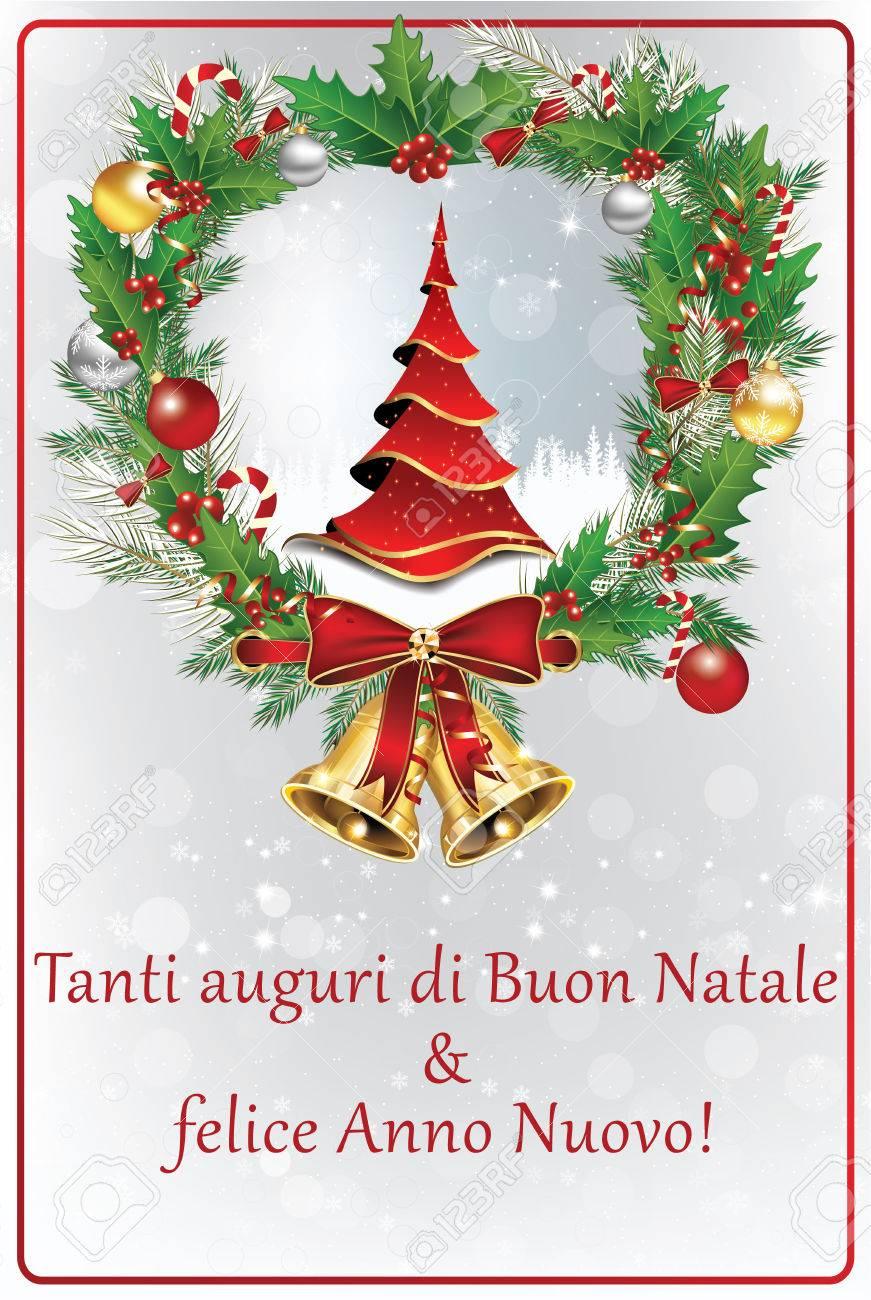 Carte De Voeux De Vacances D'hiver Italien. Joyeux Noël Et Bonne