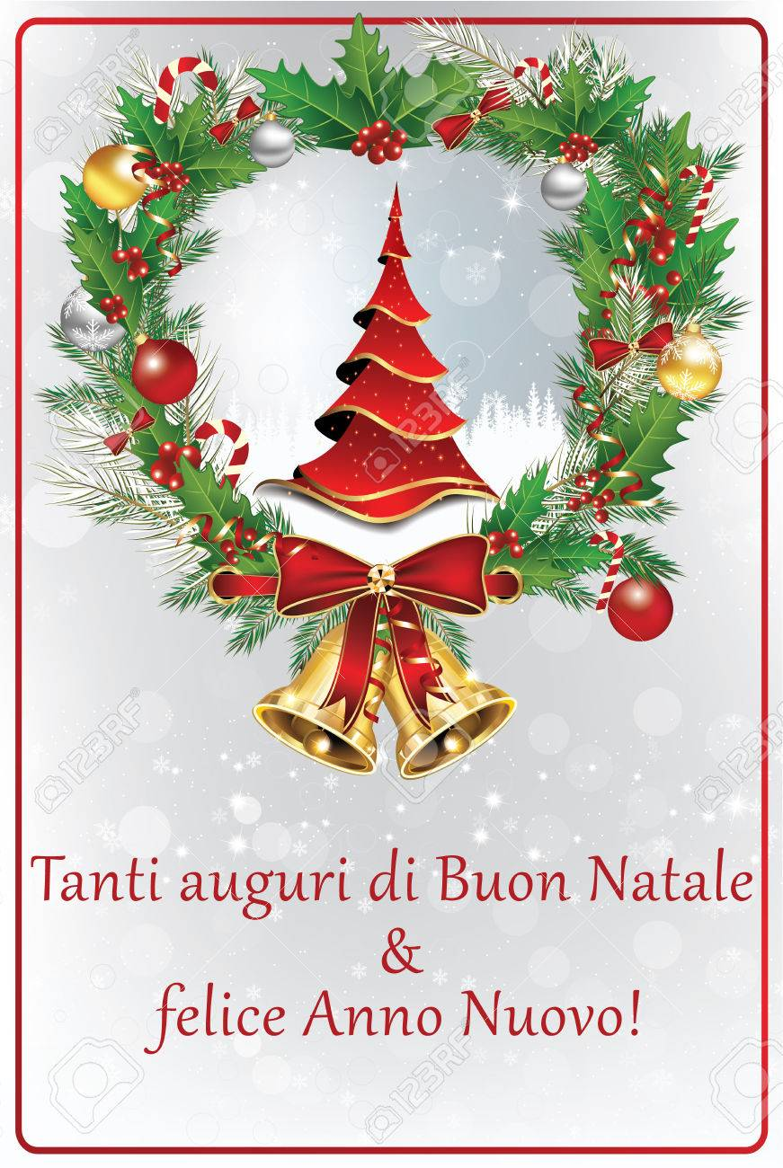 Merry Christmas In Italian.Italian Winter Holiday Greeting Card Merry Christmas And Happy