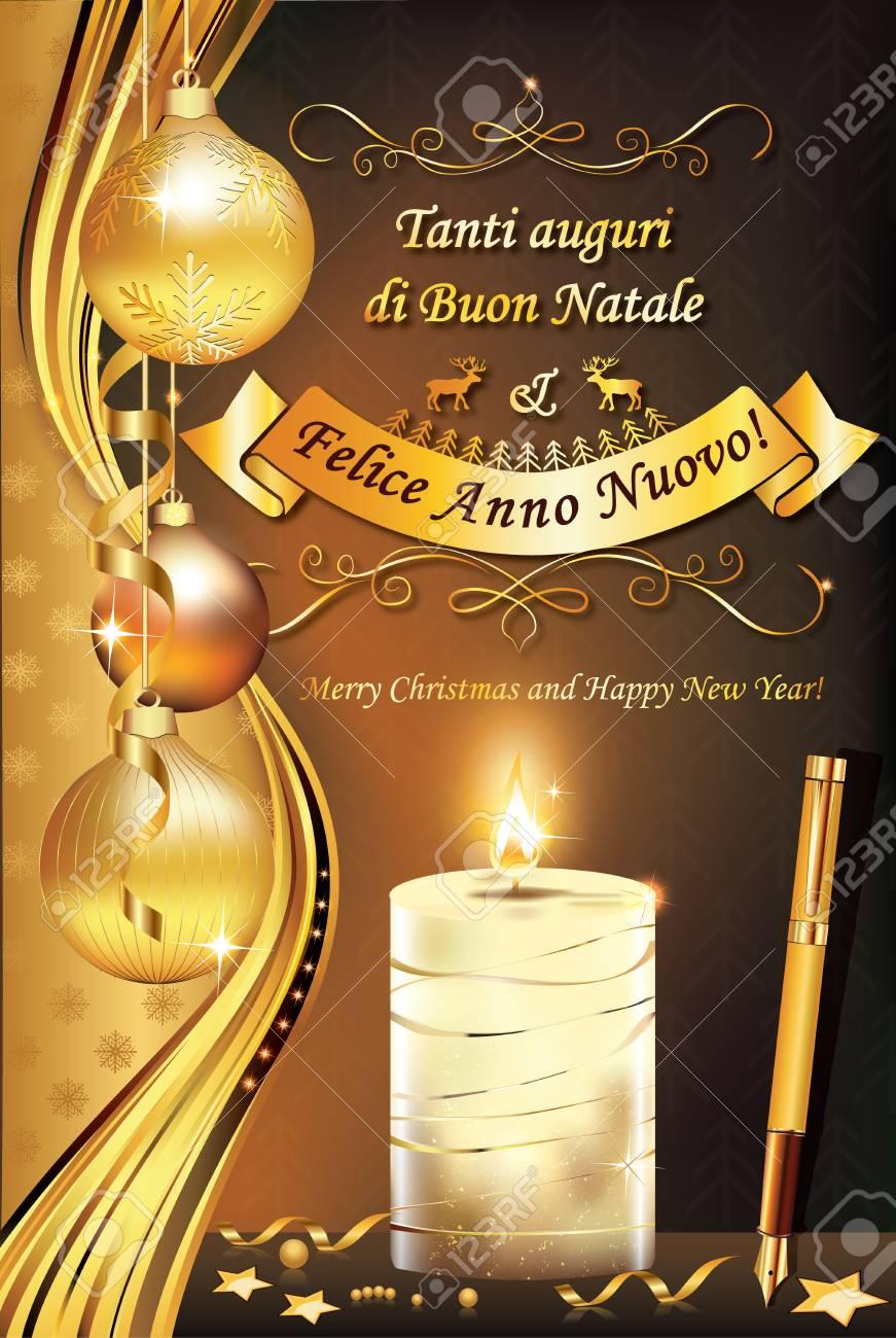 Carte De Voeux Italienne Pour Les Vacances D'hiver (Joyeux Noël Et