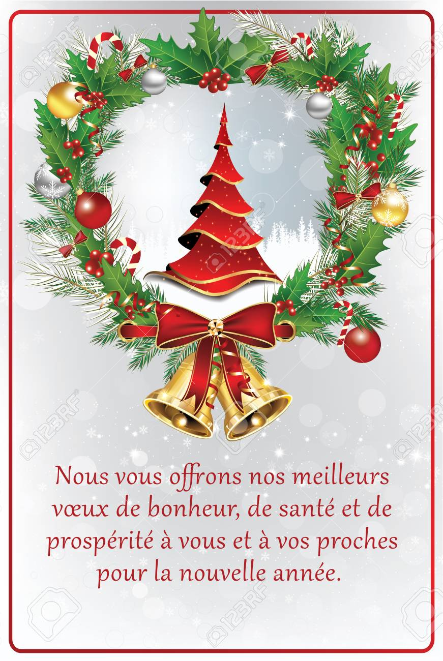french greeting card for new year we offer our best wishes of happiness