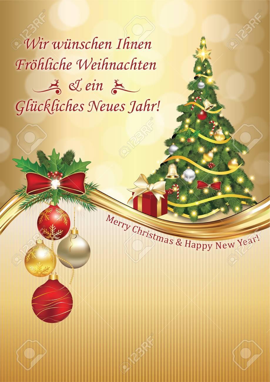 Deutsch Elegante Grußkarte: Wir Wünschen Ihnen Frohe Weihnachten Und ...
