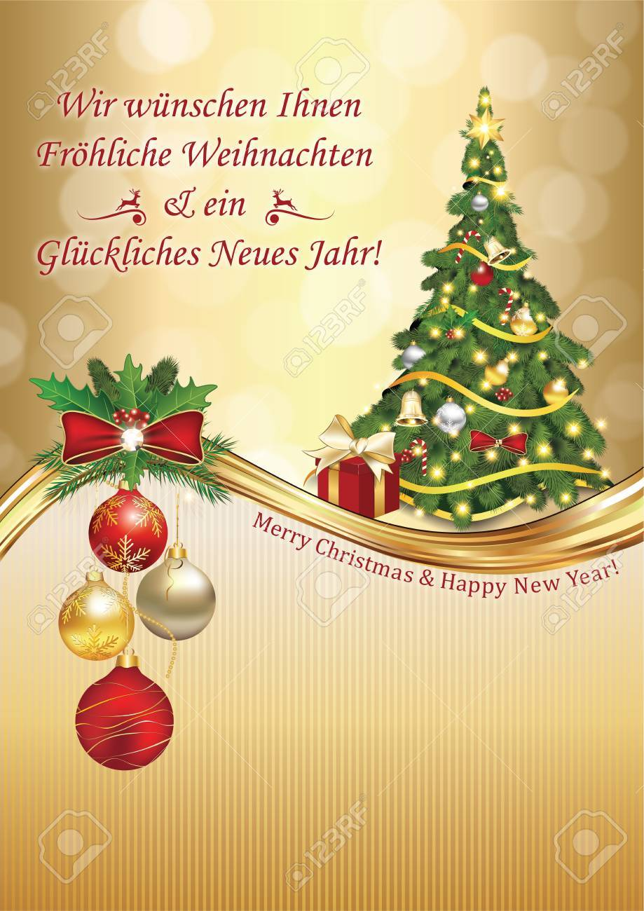 German Elegant Greeting Card: We Wish You Merry Christmas And ...
