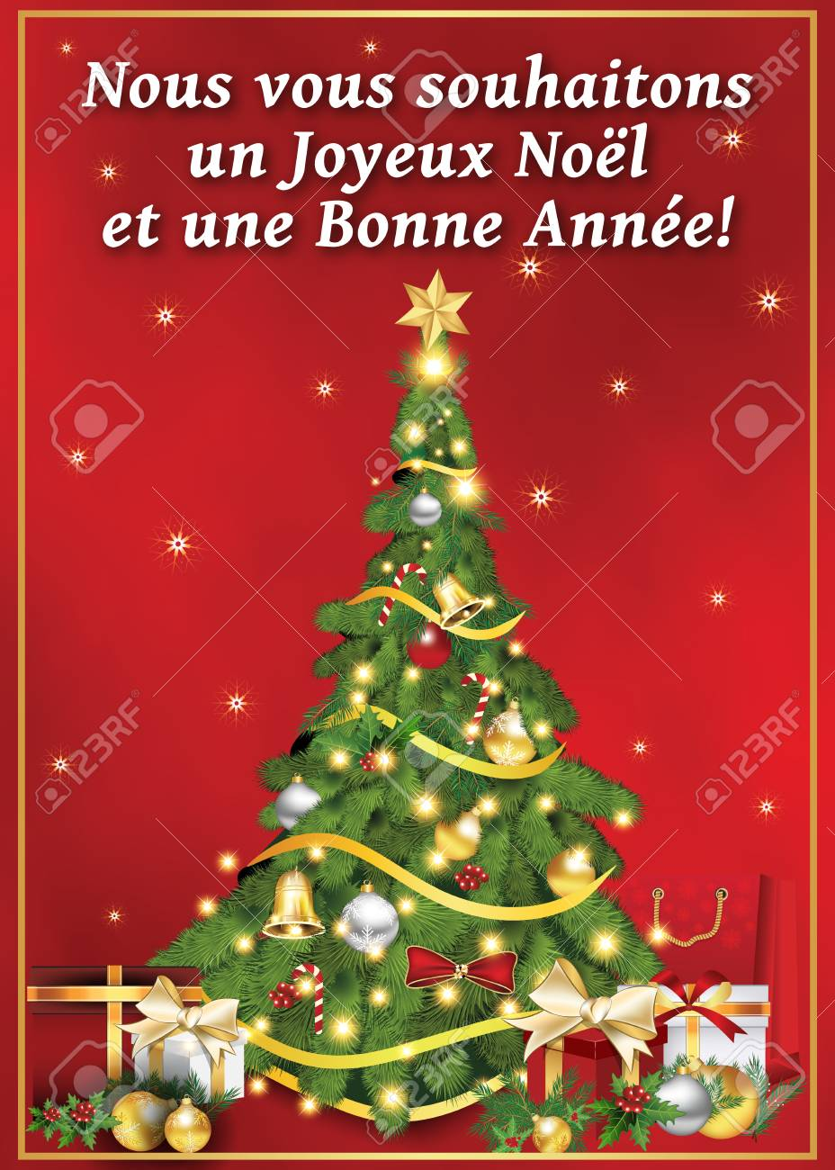 French Greeting Card For Winter Holiday Merry Christmas And Stock