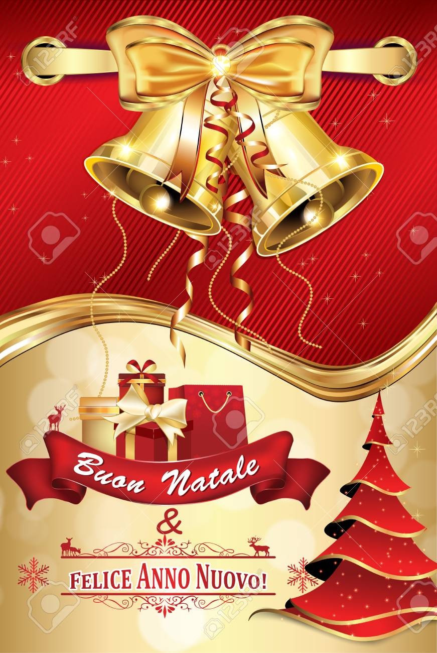 italian red greeting card for winter holiday merry christmas and happy new year buon