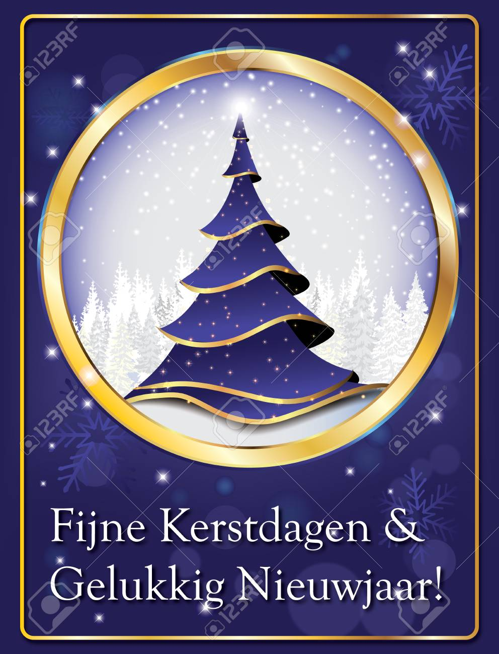 dutch elegant greeting card for winter season merry christmas and happy new year fijne