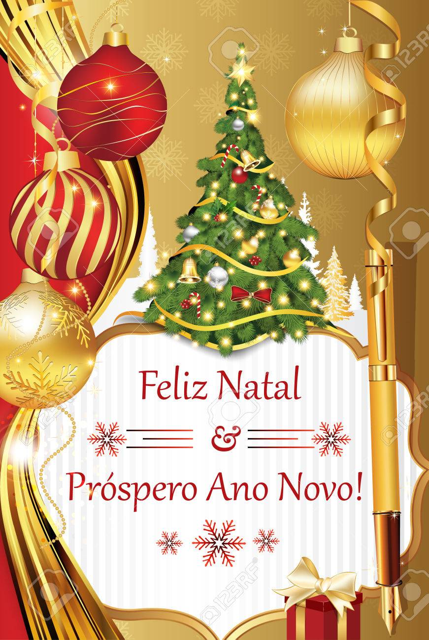 Portuguese Seasons Greetings Merry Christmas And Happy New Stock