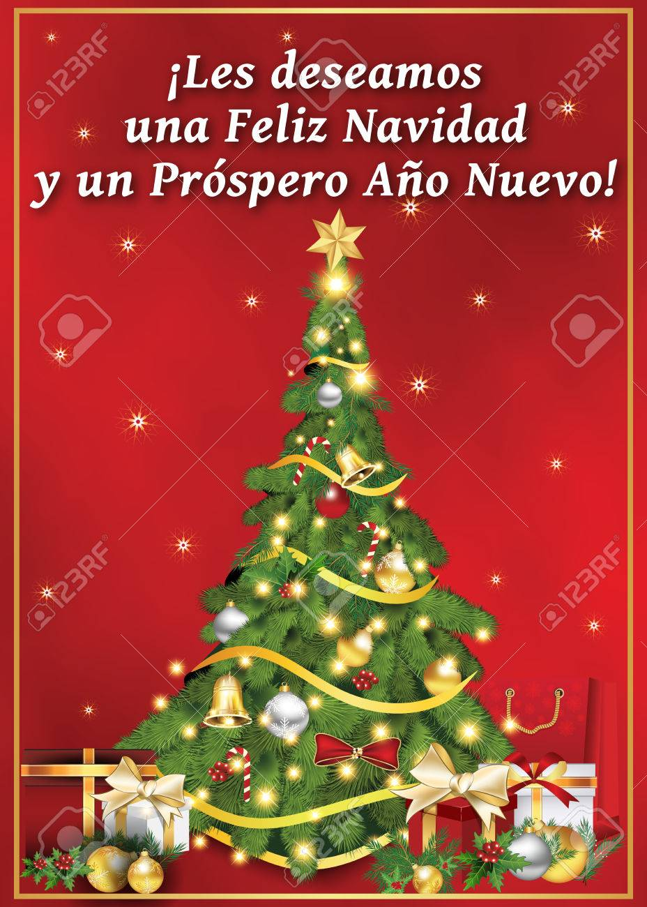 spanish seasons greetings christmas new year card les deseamos feliz navidad y un