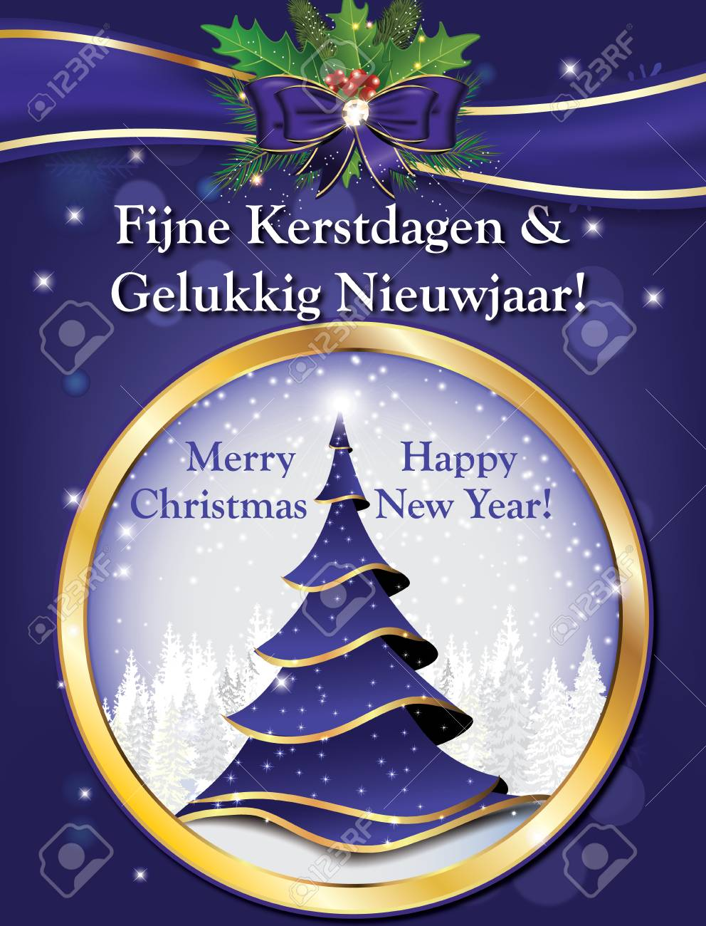 dutch lovely greeting card for winter holiday merry christmas and happy new year fijne