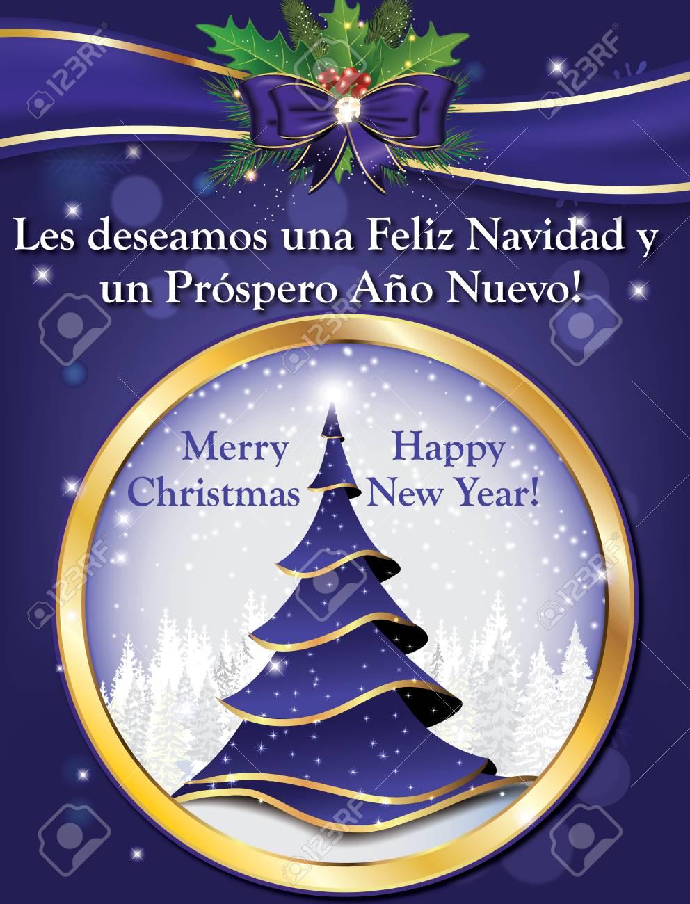 Auguri Di Buon Natale We Wish You A Merry Christmas.Spanish Greeting Card For Winter Holiday Les Deseamos Feliz