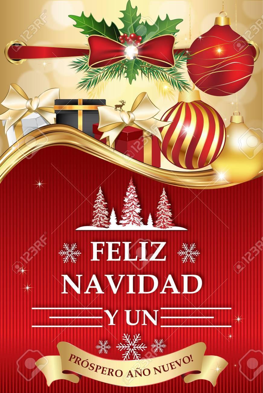 Spanish Greeting Card For New Year ( Feliz Navidad Y Un Feliz ...
