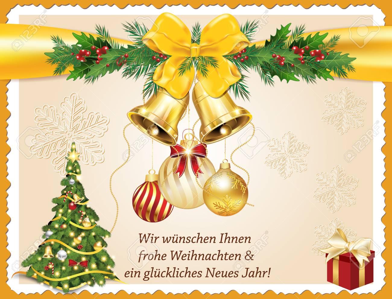 Deutsche Grußkarte Für Weihnachten Und Neujahr. \