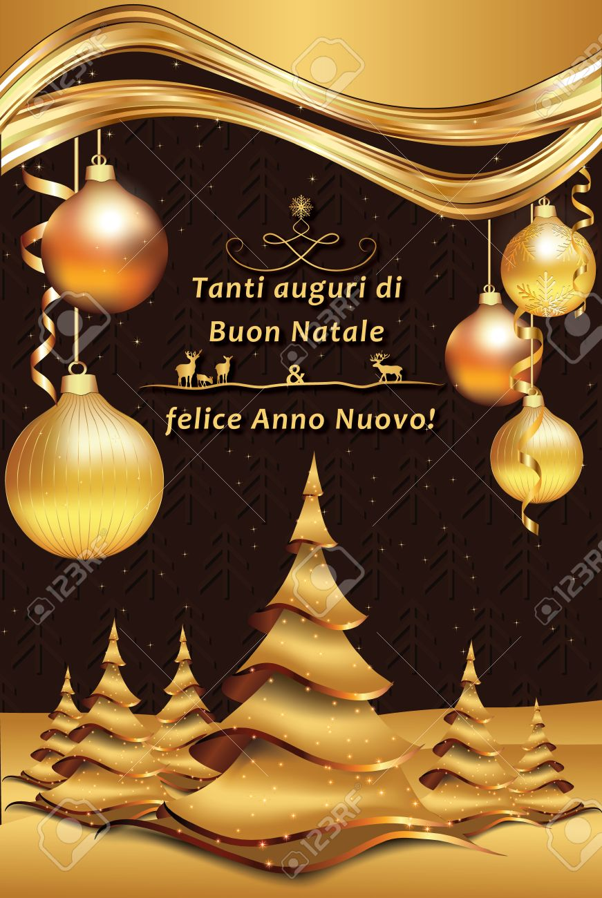 Merry Christmas And Happy New Year Italian Greeting Card Tanti