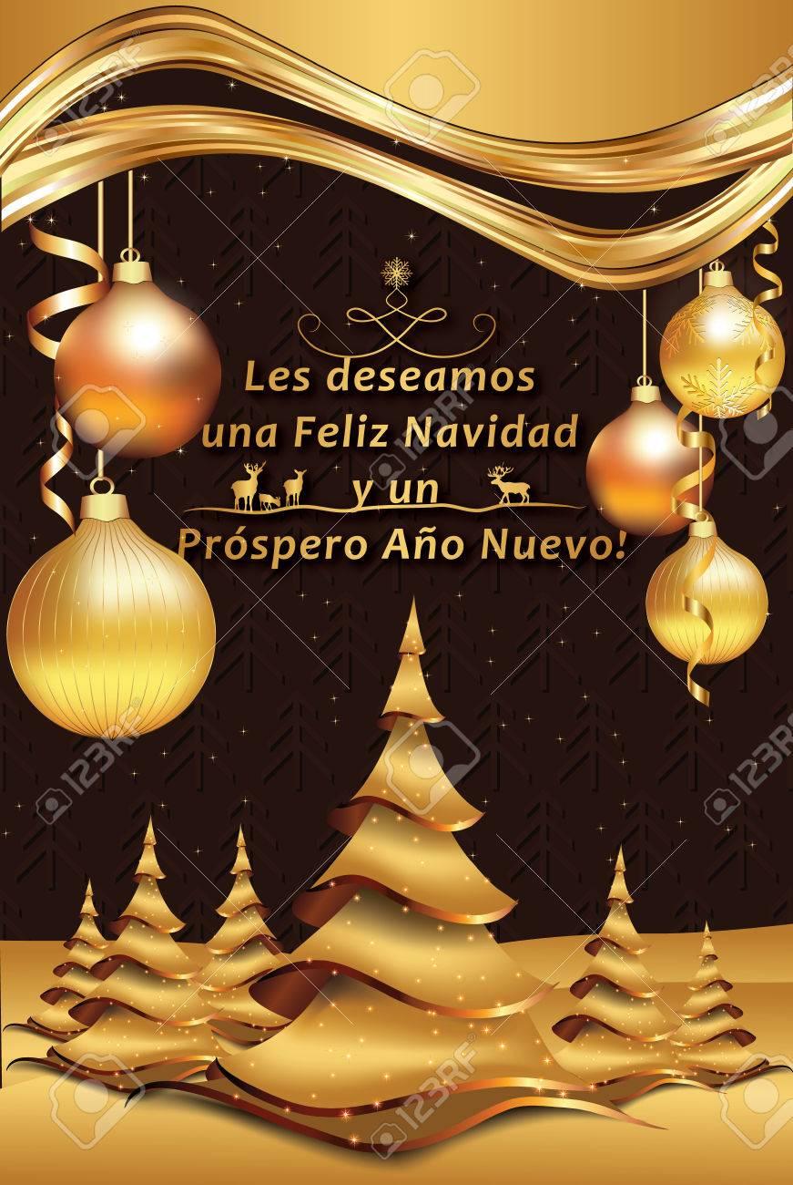 Spanish Greeting Card For New Year Les Deseamos Feliz Navidad