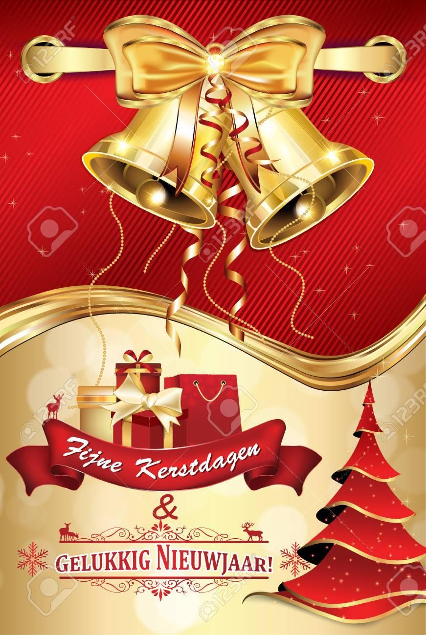 Felicitacion Navidad Personalizada Fotos.Tarjeta De Felicitacion Elegante Holandes Para La Temporada De Invierno Feliz Navidad Y Feliz Ano Nuevo Fijne Kerstdagen En Gelukkig Nieuwjaar