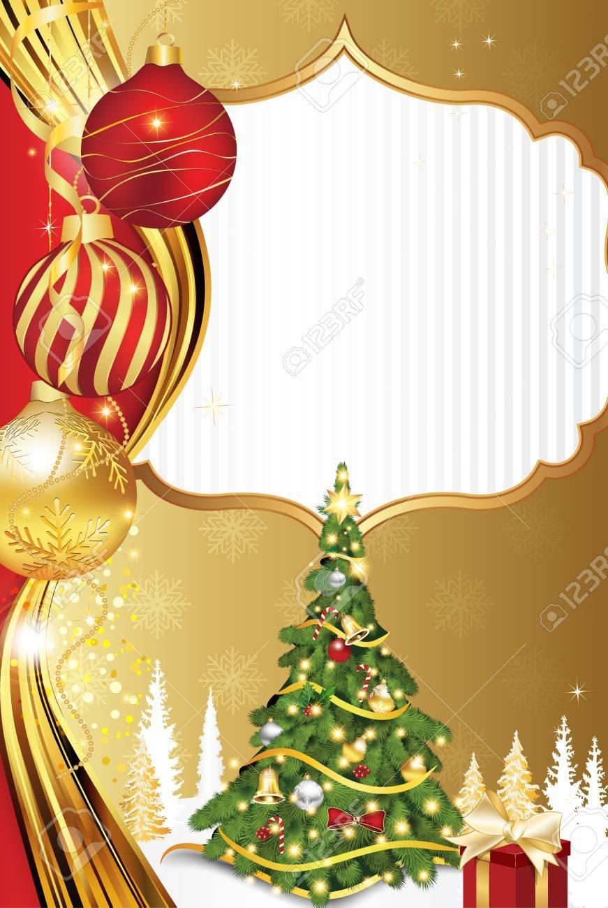 Cartao Vermelho Dourado Do Feriado De Inverno Com Espaco Para Seu