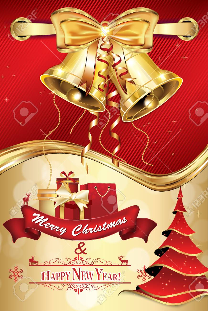 elegant red merry christmas and happy new year greeting card for friends family and business