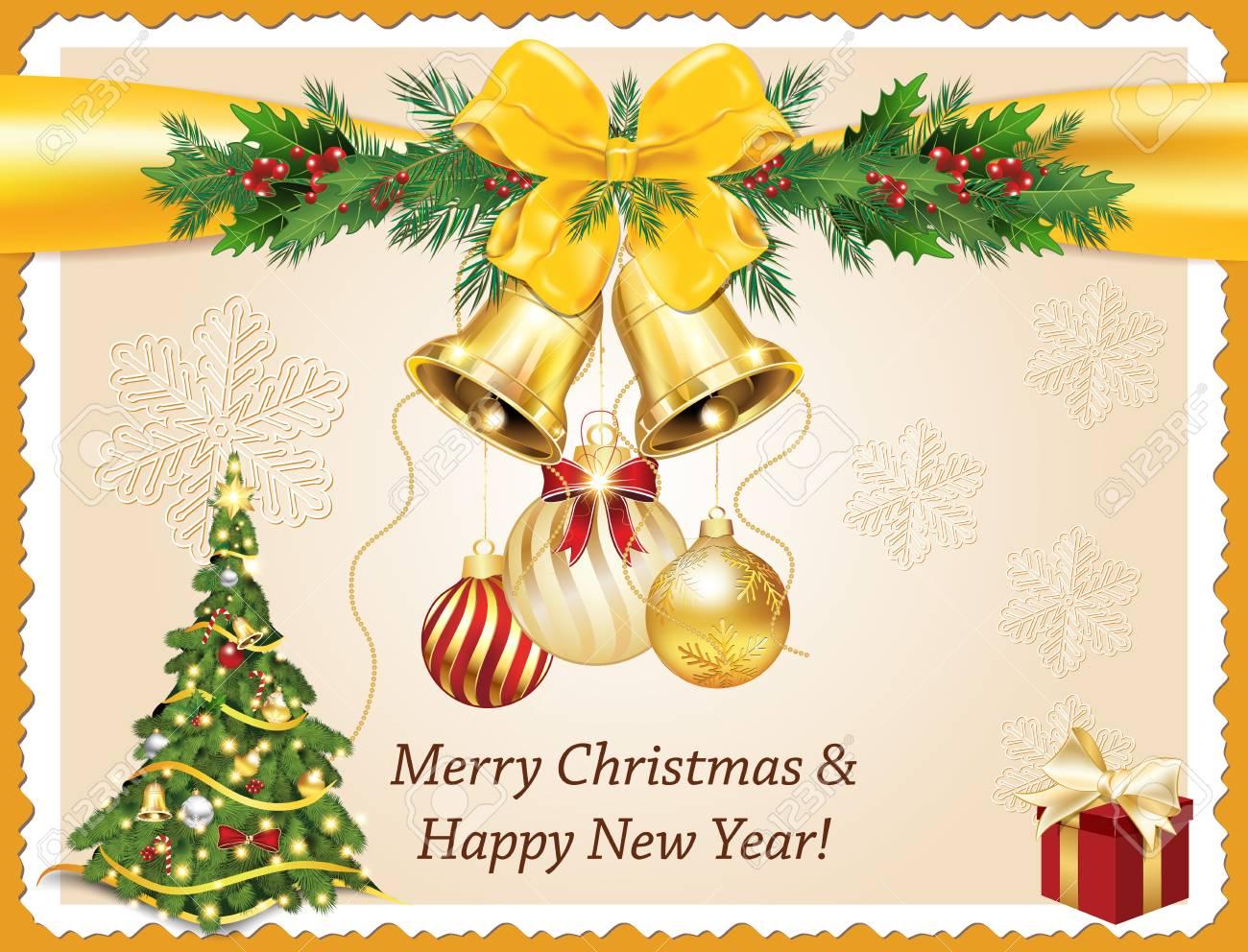 Joyeux Noel Et Bonne Année! Élégante Carte De Voeux Imprimable