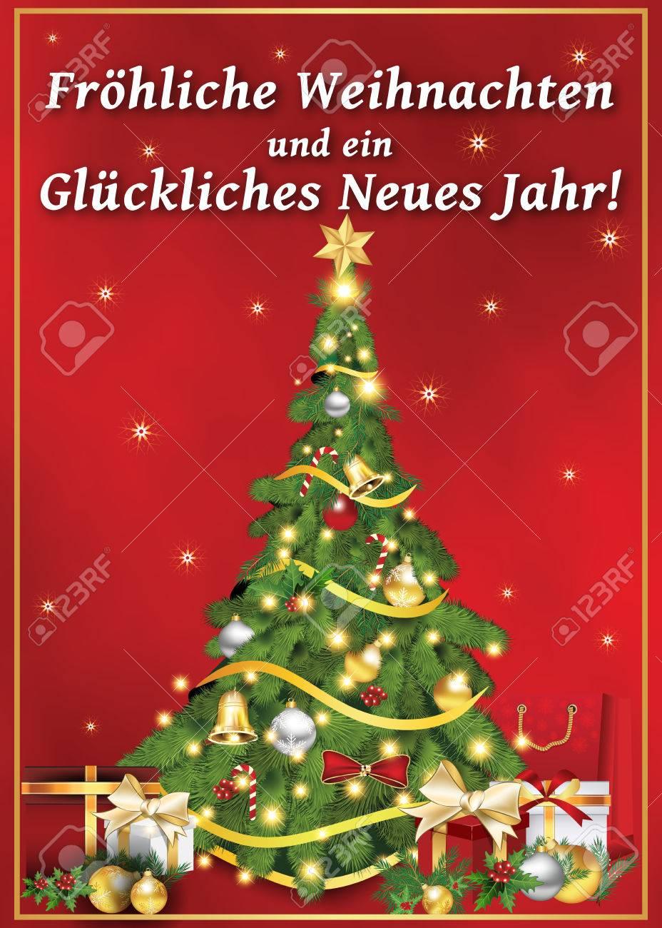 Joyeux Noel Et Nouvel An.Frohliche Weihnachten Und Gluckliches Neues Jahr Carte De Voeux Allemande Pour Noel Et Nouvel An Joyeux Noel Et Bonne Annee Couleurs
