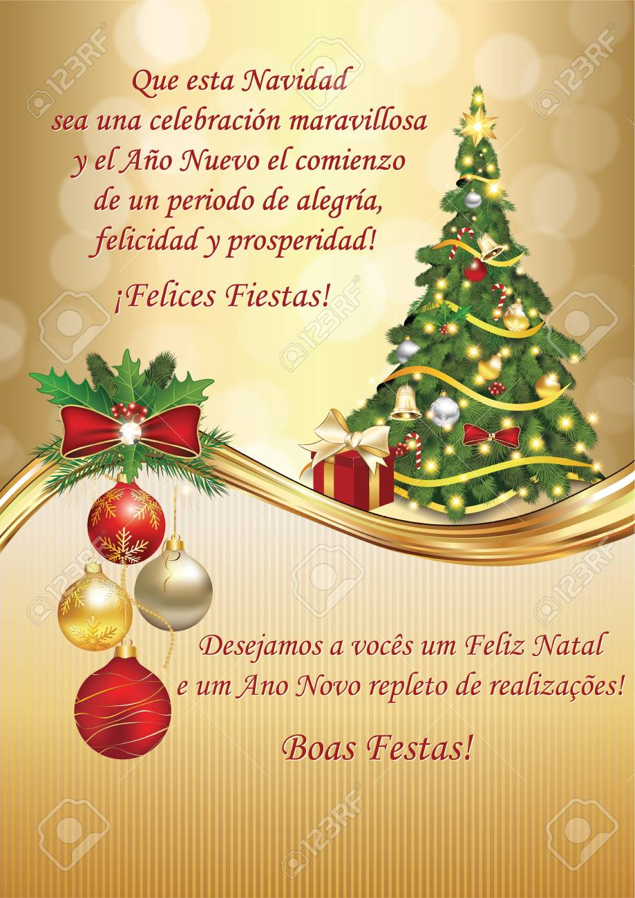 corporate christmas and new year greeting card for clients and business partners in spanish