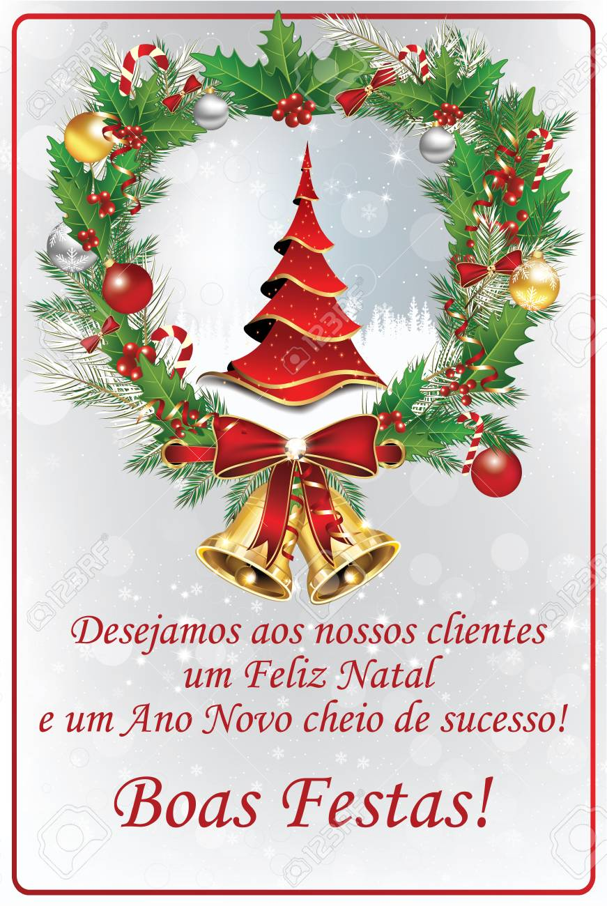 Corporate Portuguese Winter Holiday Season Greeting Card With