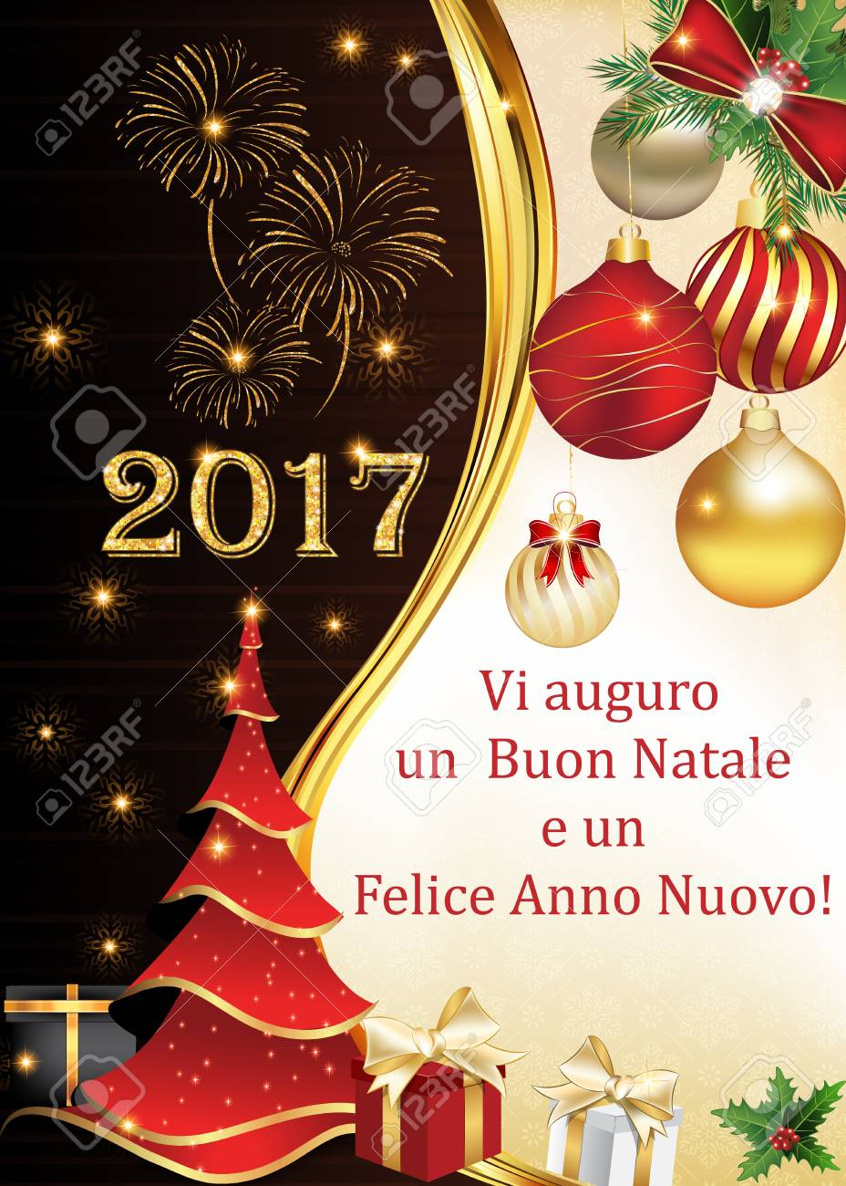 italian new year 2017 corporate greeting card with fireworks christmas tree and christmas baubles