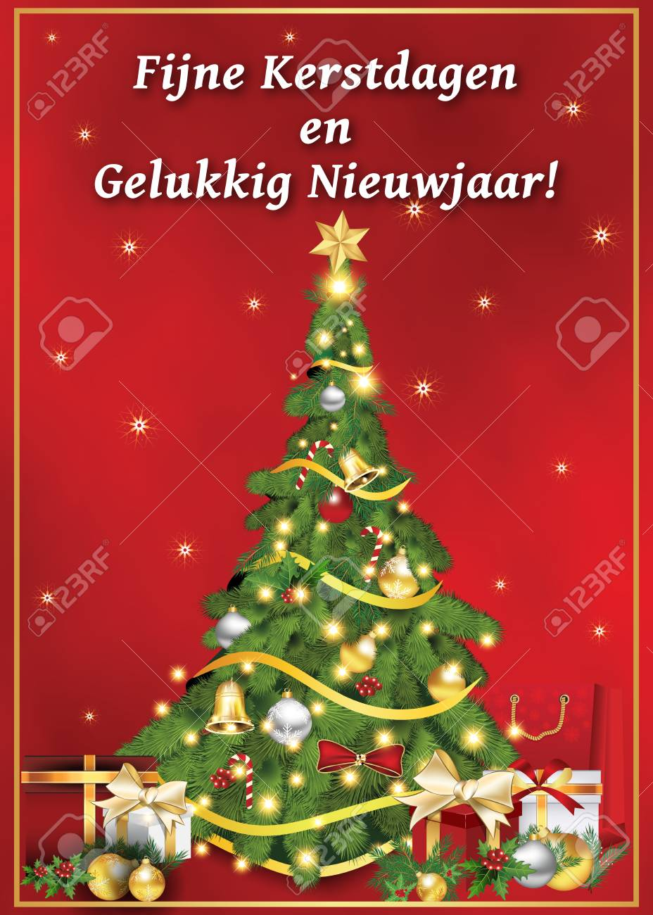graphic relating to Merry Christmas Printable called Fijne Kerstdagen en Gelukkig Nieuwjaar! - dutch language: Merry..