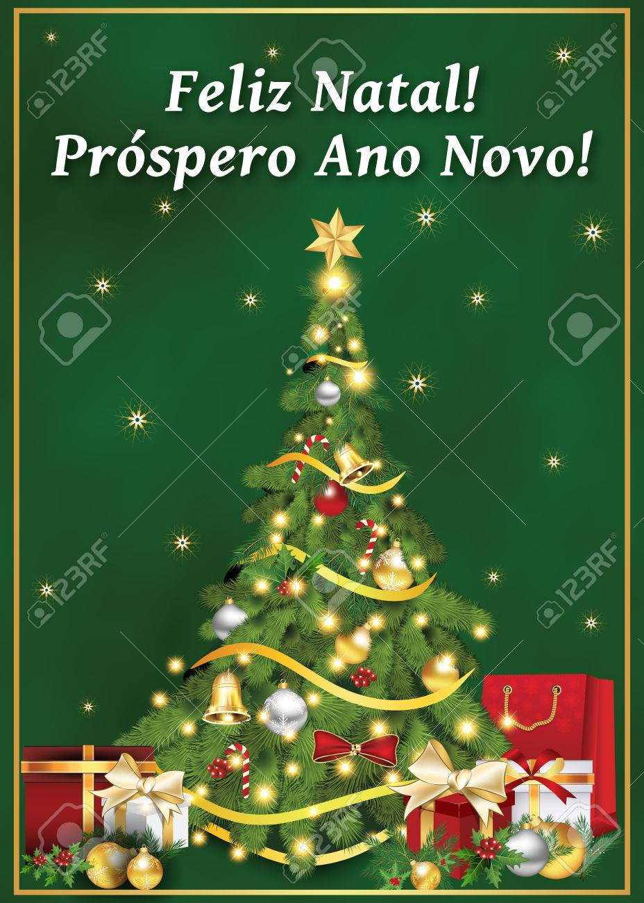 Portuguese Business Greeting Card For Winter Holiday. Text ...