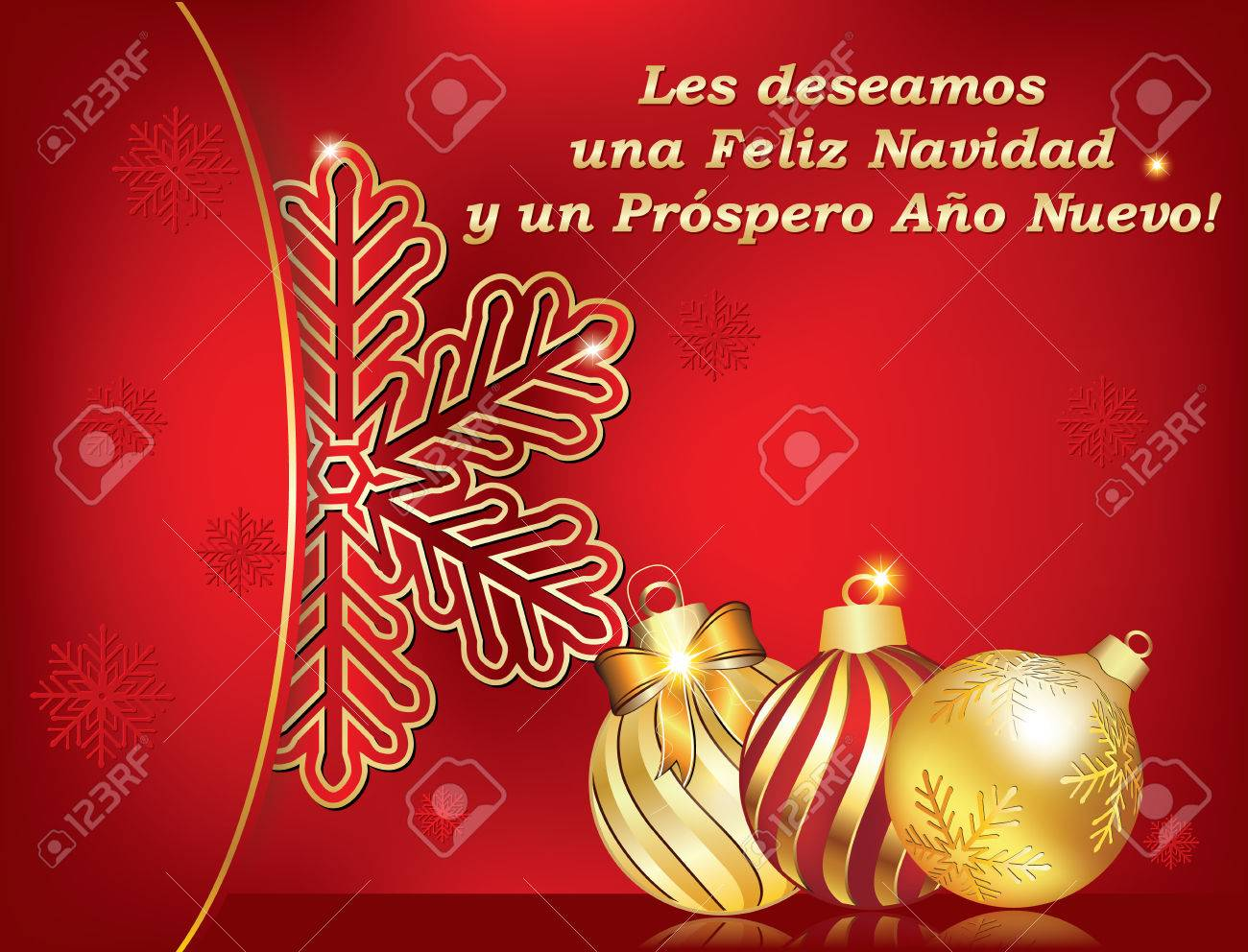 spanish seasons greetings christmas new year card les deseamos feliz navidad y feliz